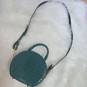 Topshop Faux Emerald Green Crocodile Crossbody
